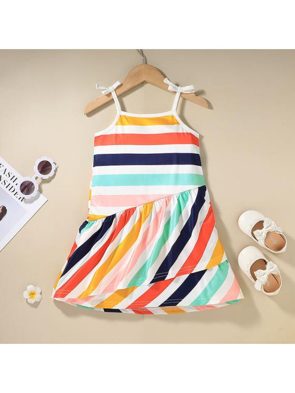 【12M-5Y】Girl Sweet Color Striped Pattern Sling Dress