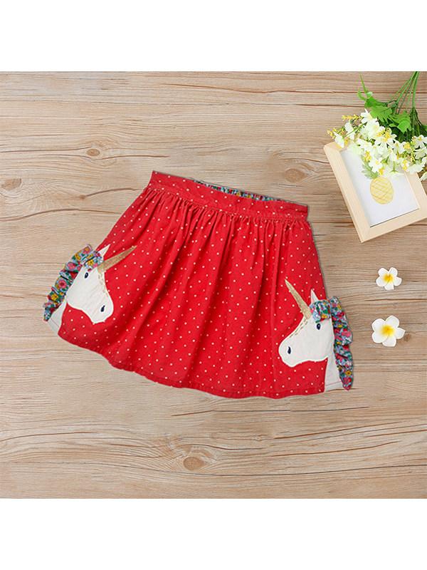 【18M-9Y】Girls Corduroy Cartoon Embroidered Skirt