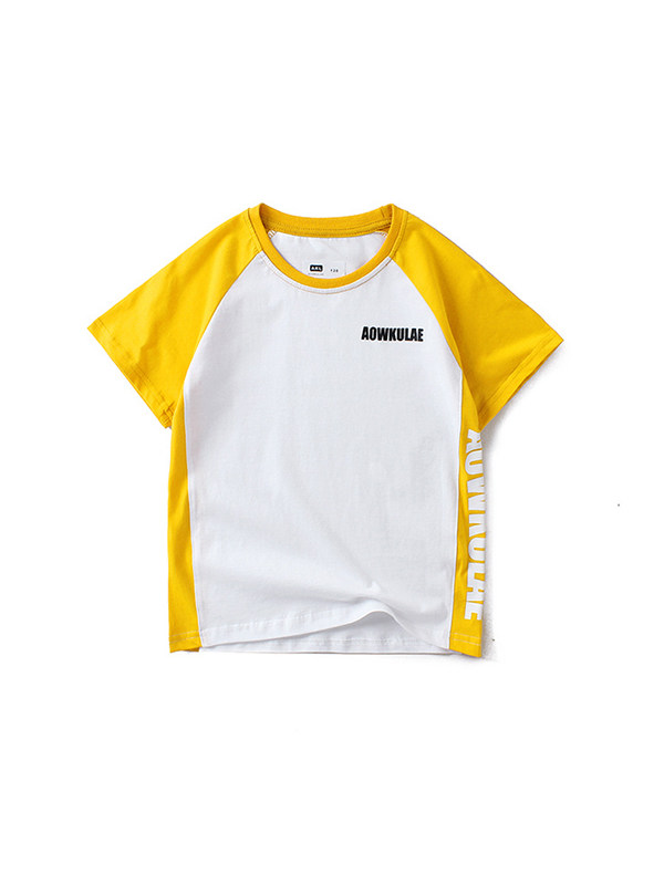 【4Y-13Y】Boys Contrast Color Stitching Letter Print Short Sleeve T-shirt