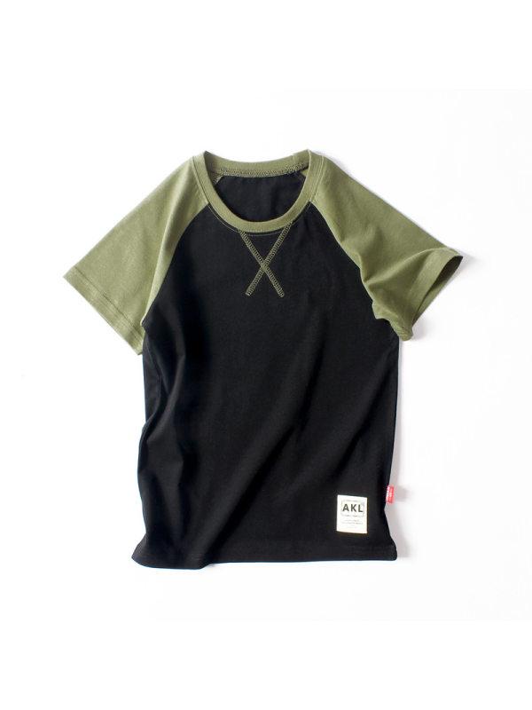 【4Y-13Y】Boys Contrast Color Stitching Short Sleeve T-shirt