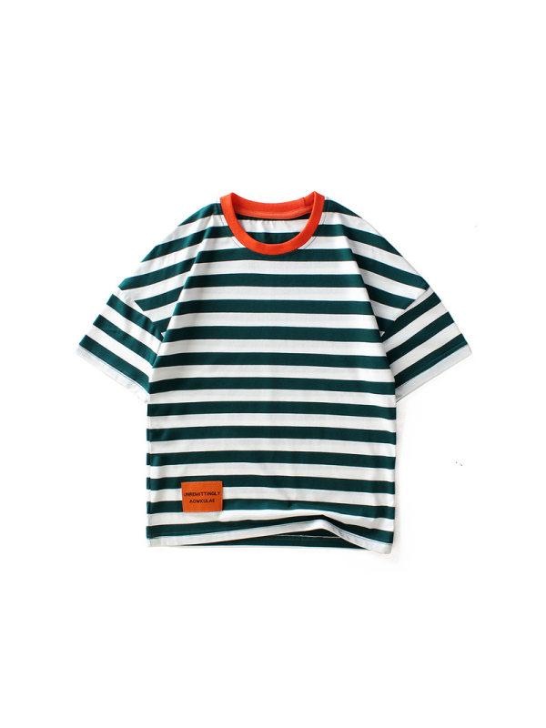 【4Y-13Y】Boys Striped Short Sleeve T-shirt