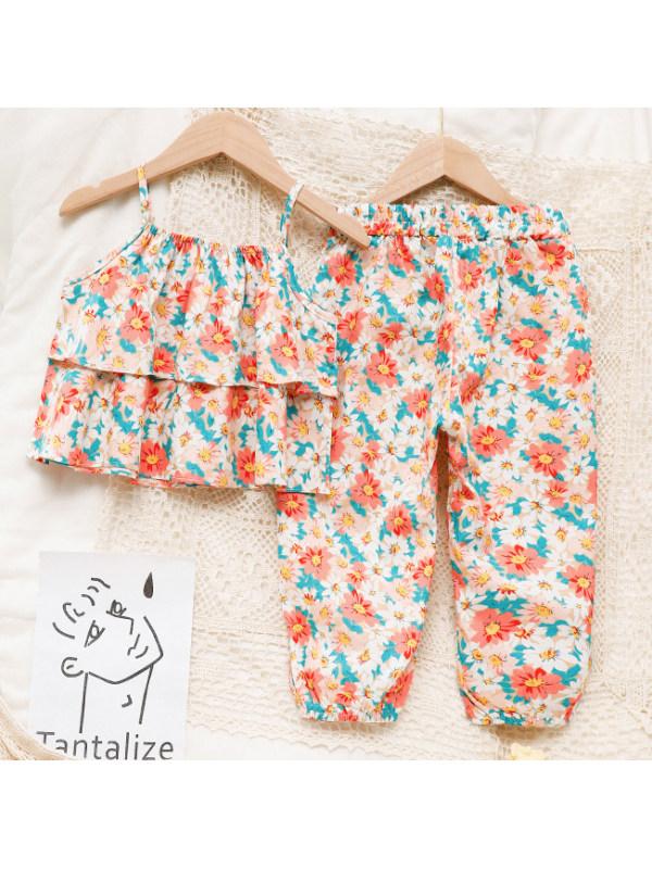 【18M-7Y】Sweet Floral Print Sling Top And Pants Sets