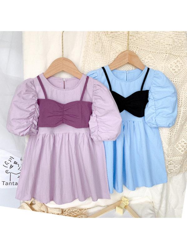 【18M-7Y】Cute Puff Sleeve Fake Two-piece Dress