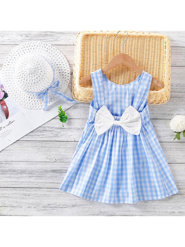 【12M-5Y】Sweet Bow  Plaid Sleeveless Dress