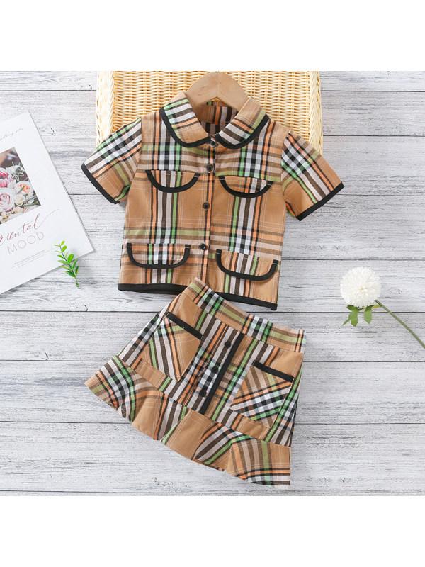 【18M-7Y】Cute Plaid Short Sleeve Shirt and Skirt Set