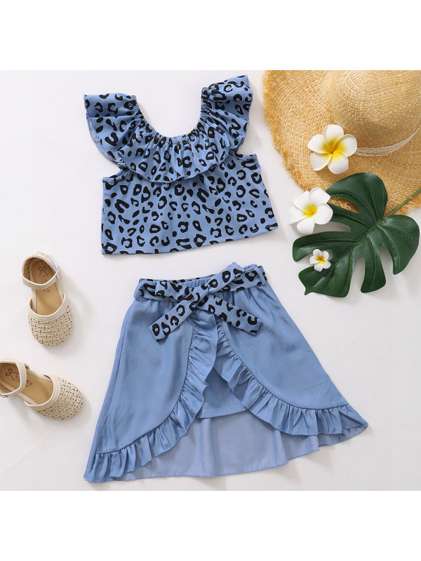 【18M-7Y】Cute Leopard Print Sleeveless Top and Skirt Set