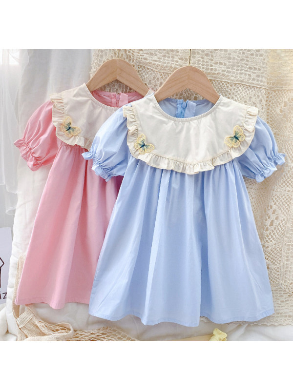 【18M-7Y】Sweet Embroidered Round Neck Puff Sleeve Dress - 33117