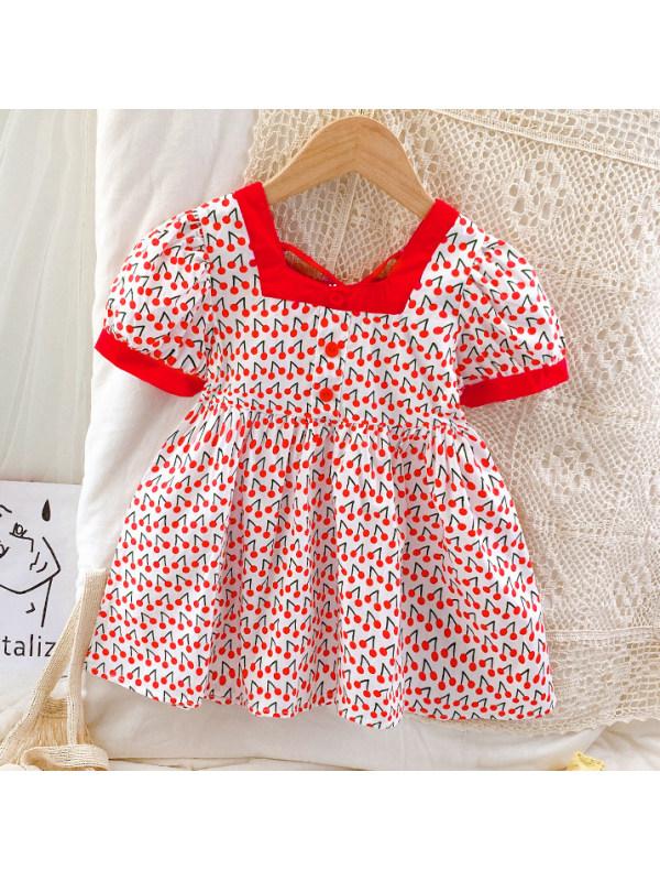 【18M-7Y】Cute Cherry Print Square Neck Short Sleeve Dress