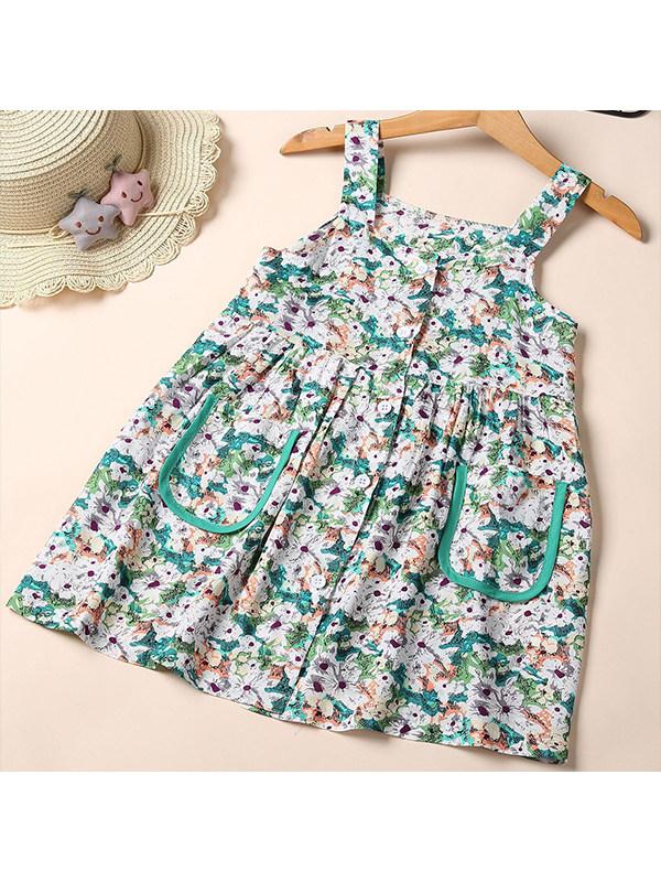 【2Y-9Y】Girls Floral Sling Dress