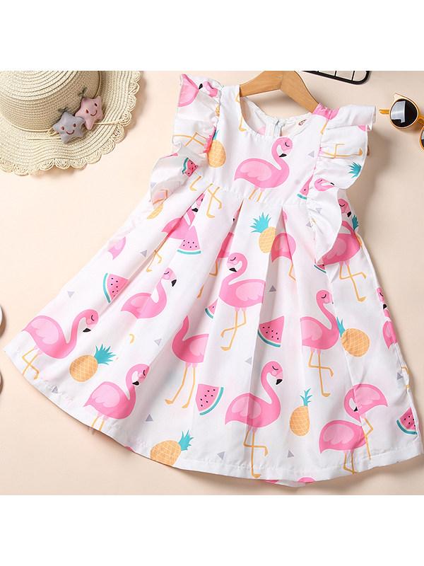 【2Y-9Y】Girls Flamingo Print Dress