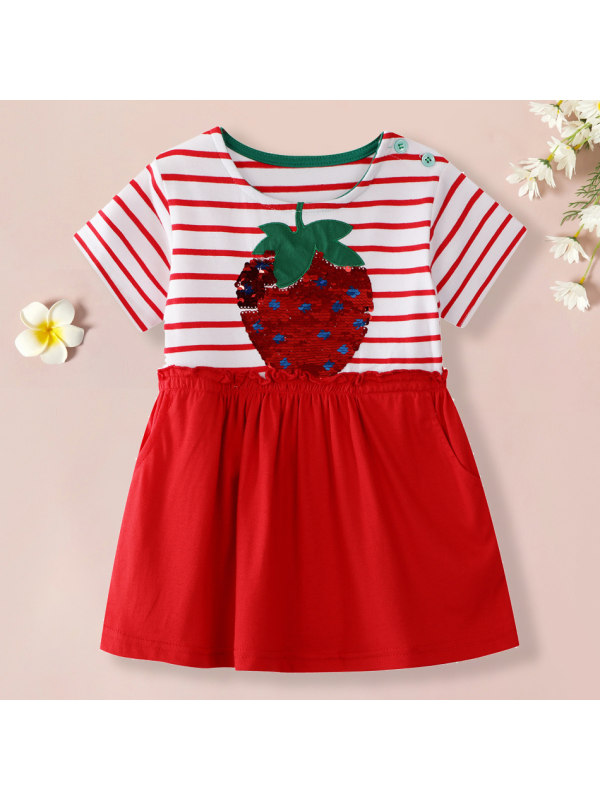 【18M-7Y】Girls Sweet Red Strawberry Pattern Striped Short Sleeve Dress