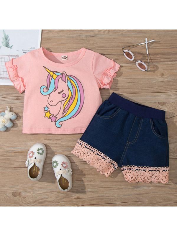 【18M-7Y】Cute Cartoon Unicorn Pink T-shirt and Shorts Set