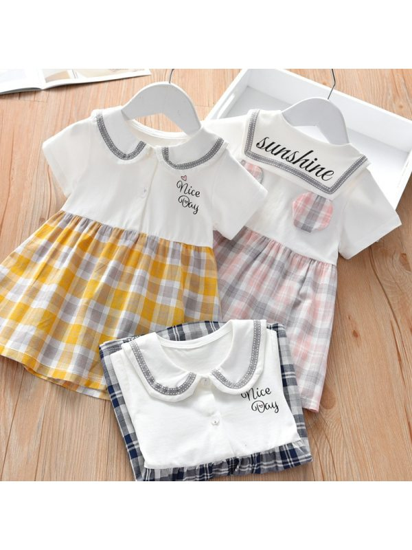 【18M-7Y】Girls Sweet Lapel Short Sleeve Plaid Dress