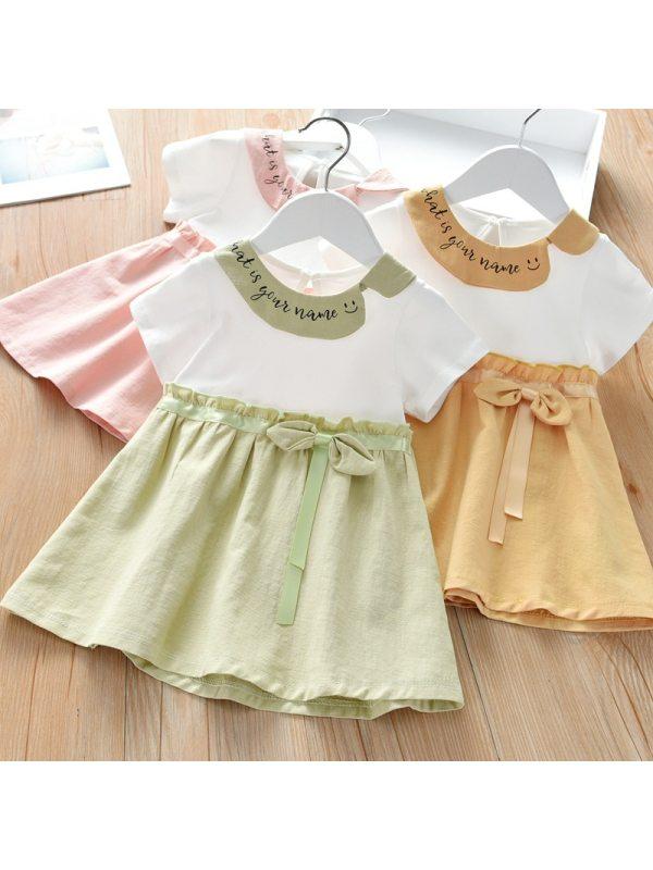 【18M-7Y】Girl Sweet Lapel Short Sleeve Dress