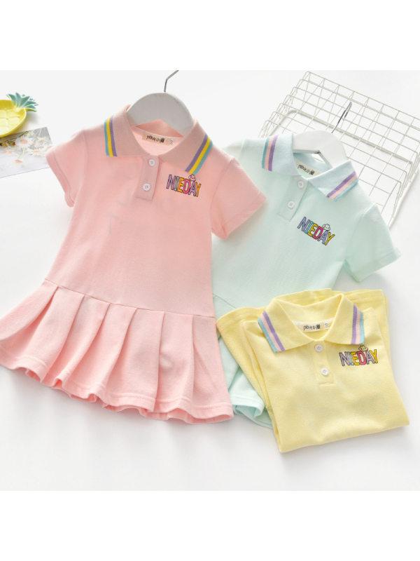 【18M-7Y】Girls Sweet Letters Pattern Lapel Short Sleeve Dress