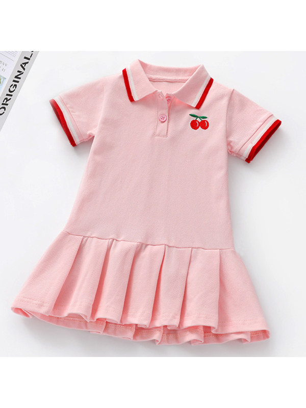 【18M-7Y】Girls Sweet Cherry Embroidered Lapel Short Sleeve Dress