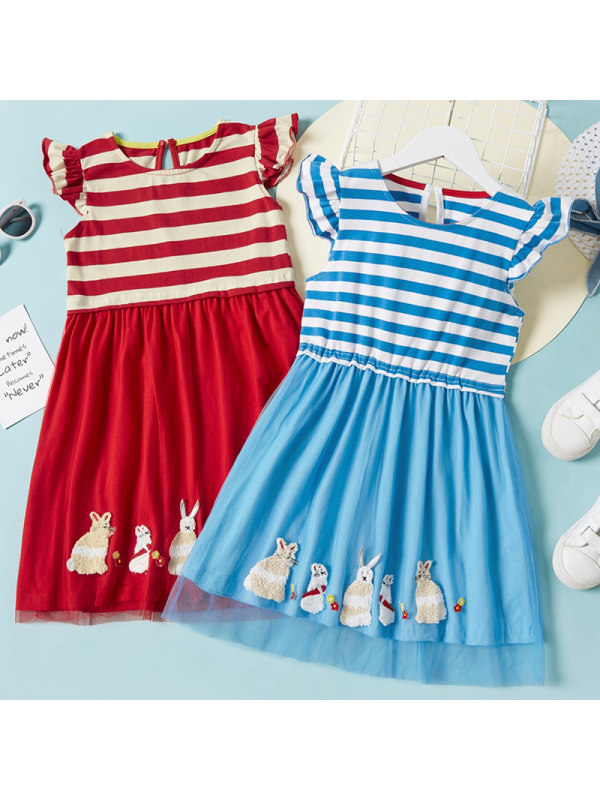 【18M-7Y】Girls Sweet Bunny Embroidered Striped Short Sleeve Dress