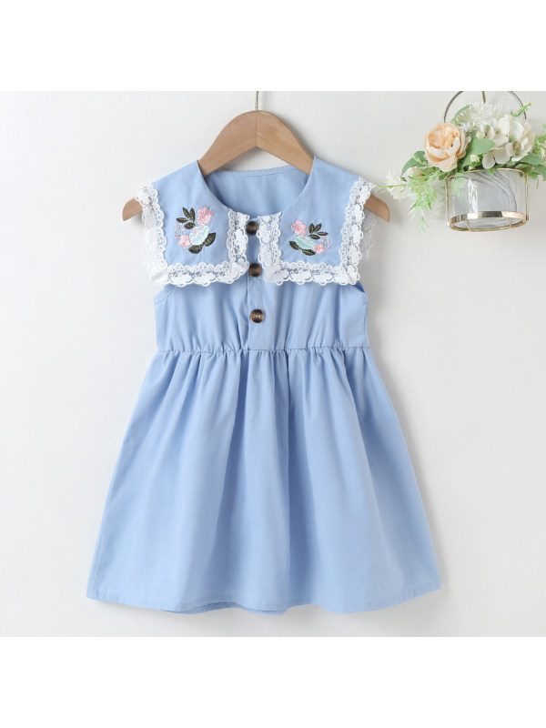 【18M-7Y】Sweet Flowers Embroidered Collar Sleeveless Dress