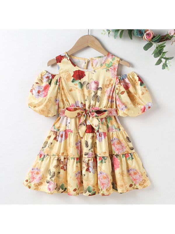 【18M-7Y】Sweet Flower Print Round Neck Short Sleeve Yellow Dress