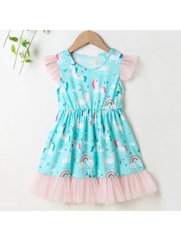 【18M-7Y】Cute Rainbow and Unicorn Print Green Dress