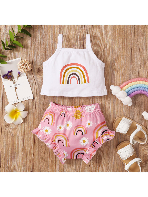 【6M-3Y】Cute Rainbow Print Top and Pink Shorts Set