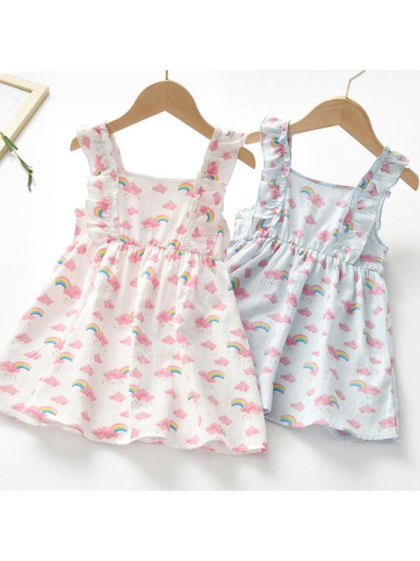 【18M-7Y】Girl Sweet Rainbow Pattern Sleeveless Dress