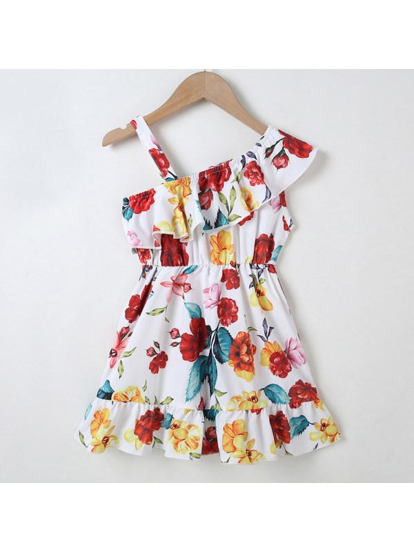 【18M-7Y】Sweet Flower Print Ruffle Dress