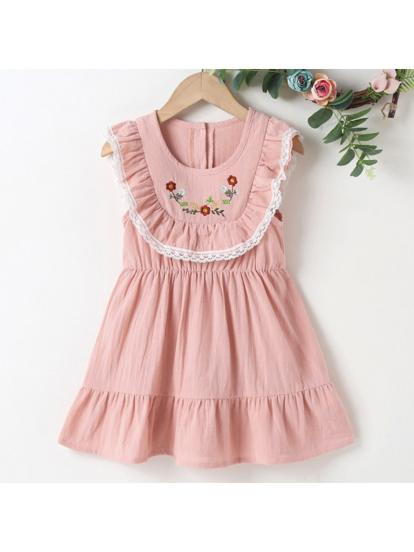 【18M-7Y】Sweet Floral Embroidered Pink Dress
