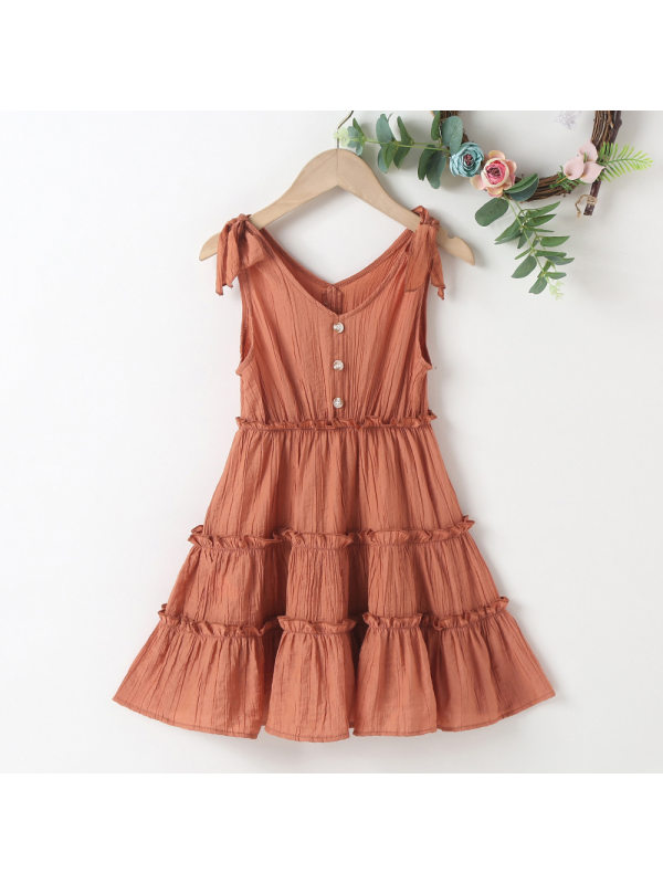 【18M-7Y】Sweet Bow Pure Color Dress - 33116