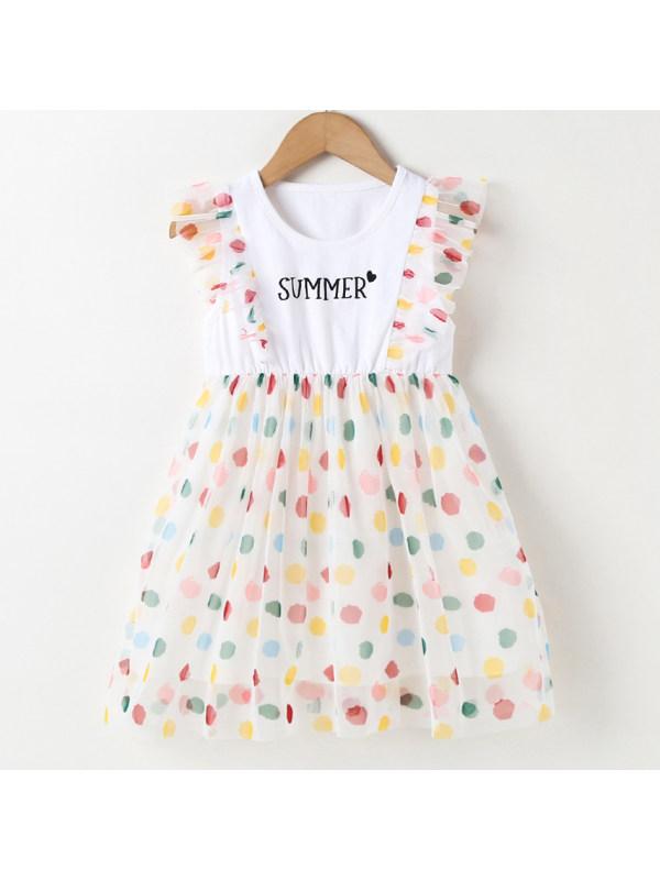 【18M-7Y】Cute Letter Print Polka Dot Mesh Dress