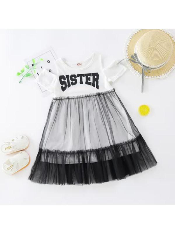 【18M-7Y】Girls' Round Neck Short-sleeved Letter Print Stitching Mesh Dress