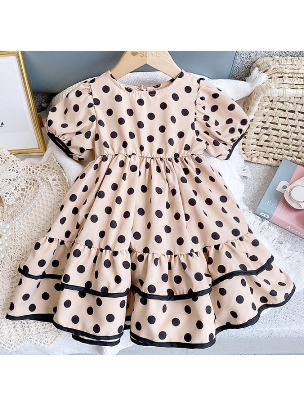 【2Y-9Y】Sweet Polka Dot Print Ruffle Dress - 3397