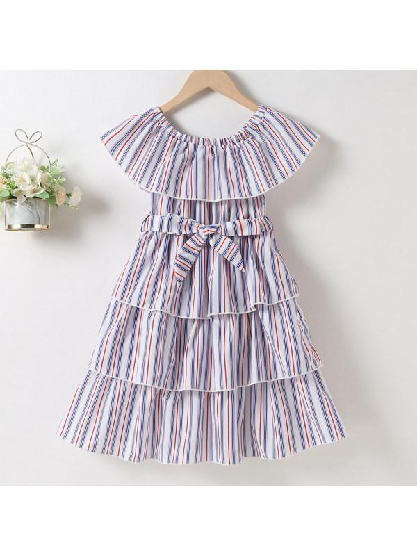 【18M-7Y】Sweet Striped Round Neck Dress