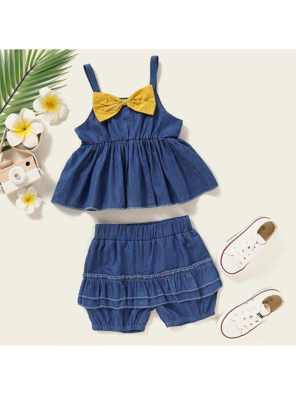 【6M-2.5Y】Sweet Bow Top and Shorts Set