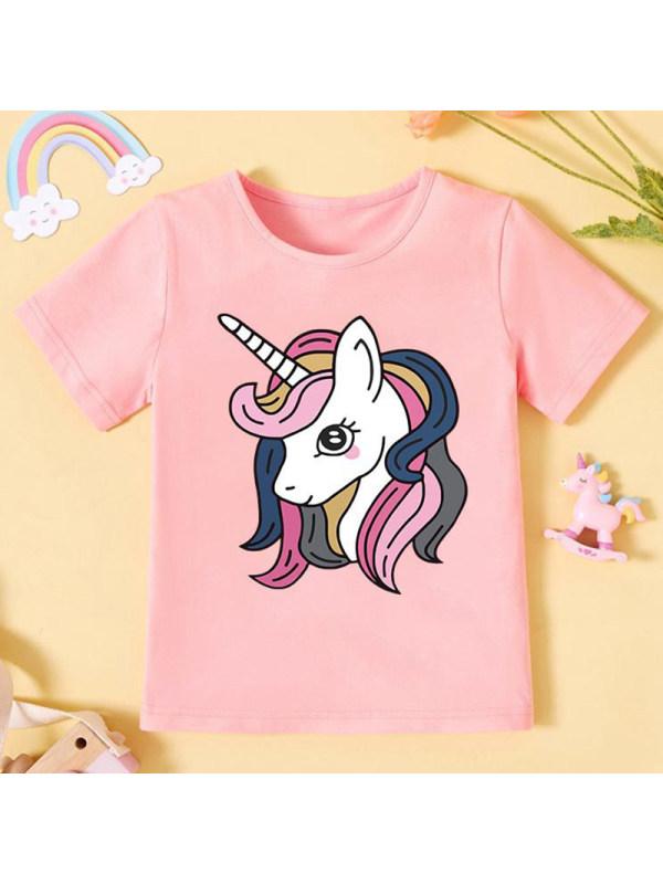 【12M-5Y】Girls Unicorn Pattern Round Neck Short Sleeve T-Shirt