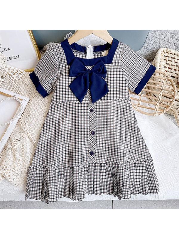 【2Y-9Y】Sweet Bow Plaid Dress