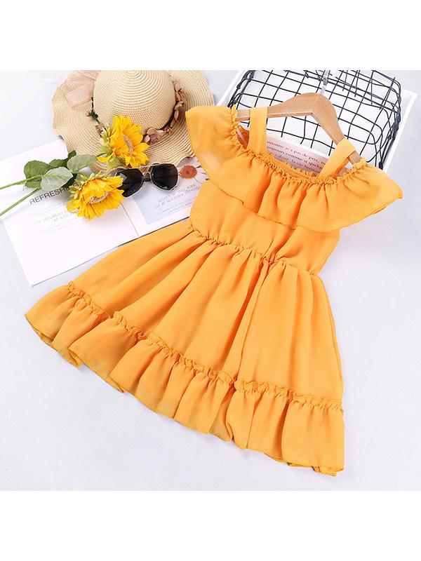 【18M-7Y】Girls' Short Sleeve Neck Dress
