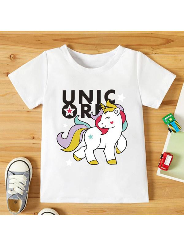 【18M-7Y】Girls Unicorn Pattern Round Neck Short Sleeve T-Shirt