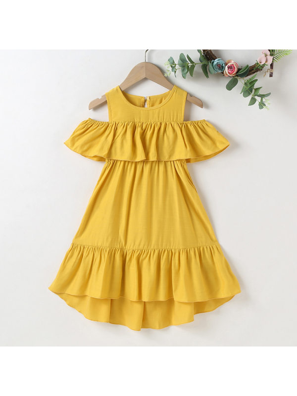 【18M-7Y】Sweet Ruffled Cold Shoulder Dress