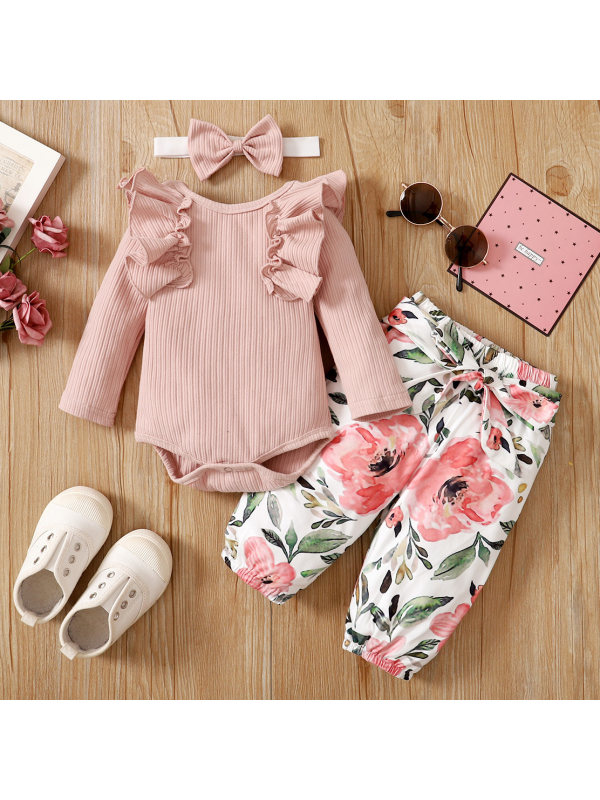 【0M-12M】Sweet Pink Long-sleeved Romper and Floral Pants Set