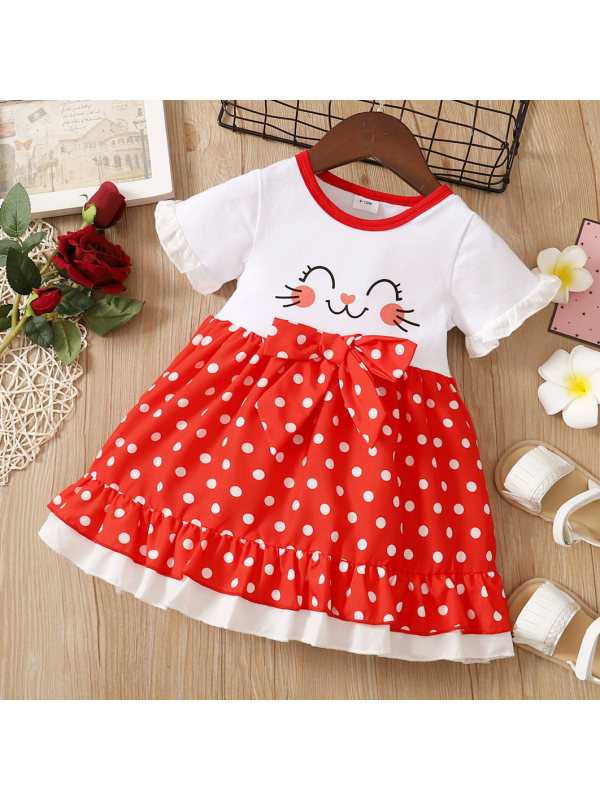 【0M-18M】Cute Cartoon and Polka Dot Print Round Neck Short Sleeve Red Dress
