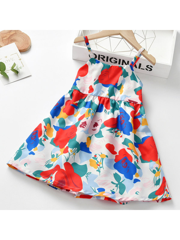 【18M-7Y】Girl Sweet Red Floral Sling Dress
