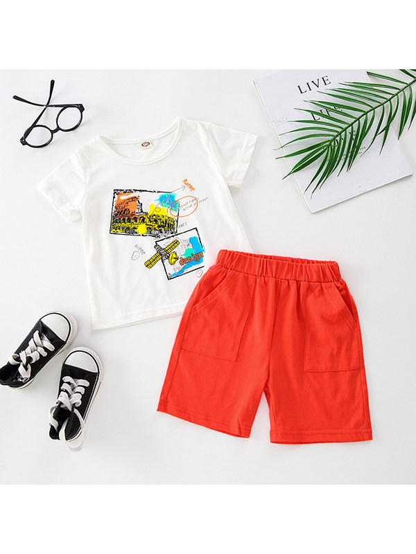 【18M-7Y】Boys Crew Neck Sleeveless Letter Print T-shirt with Solid Color Shorts Set
