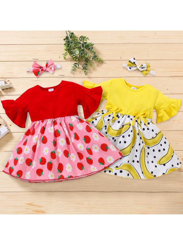 【12M-4Y】Sweet Strawberry Banana Print Round Neck Dress