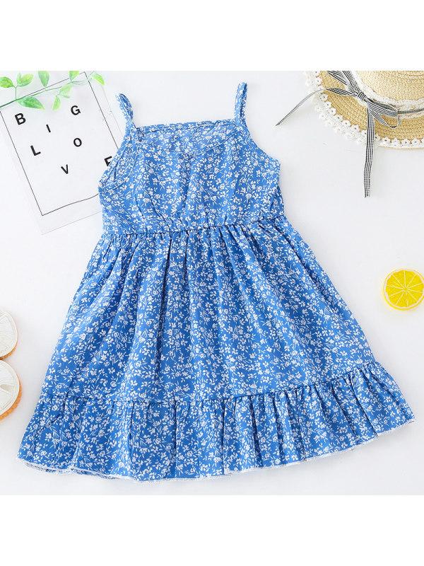 【18M-7Y】Girl Sweet Blue Floral Sling Dress