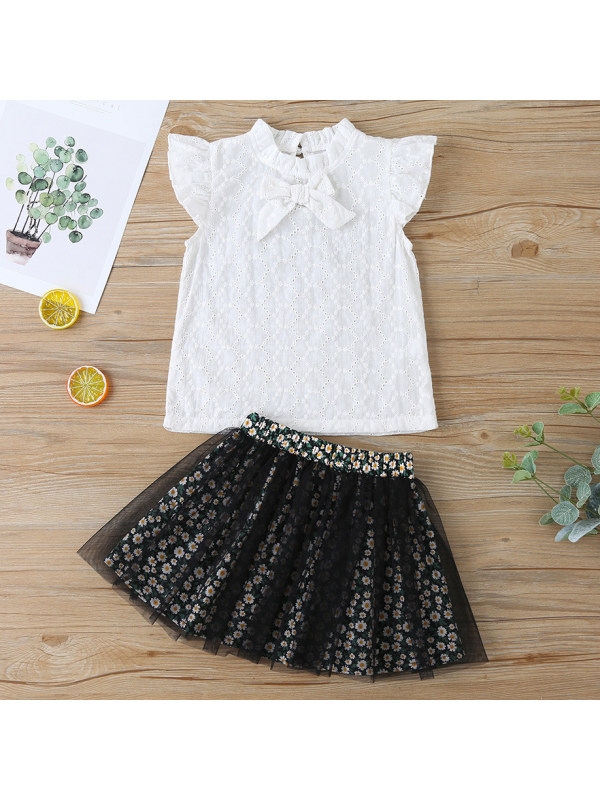 【18M-7Y】Sweet Flower Embroidery White Shirt and Flower Skirt Set