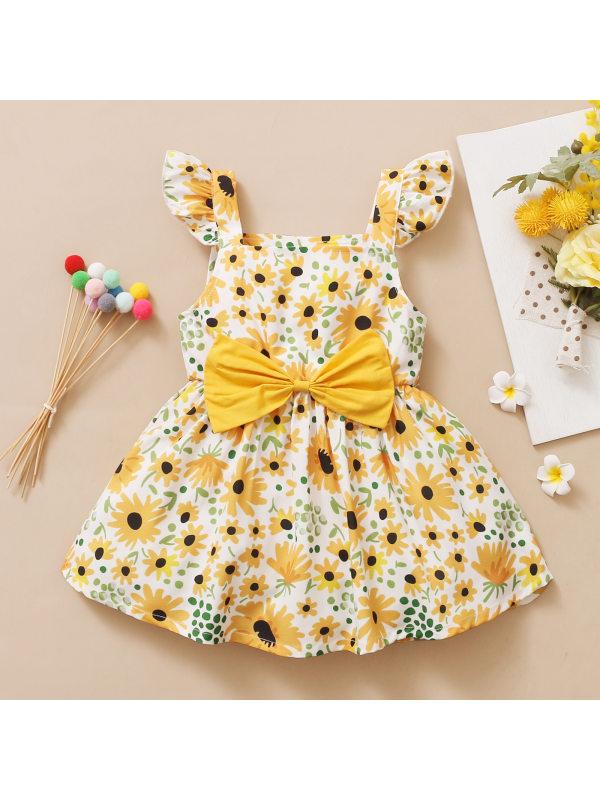 【12M-5Y】Sweet Flower Print Bow Dress