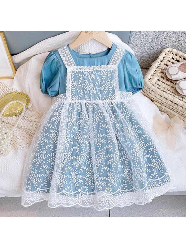 【2Y-9Y】Sweet White Lace Dress Blue Round Neck Dress