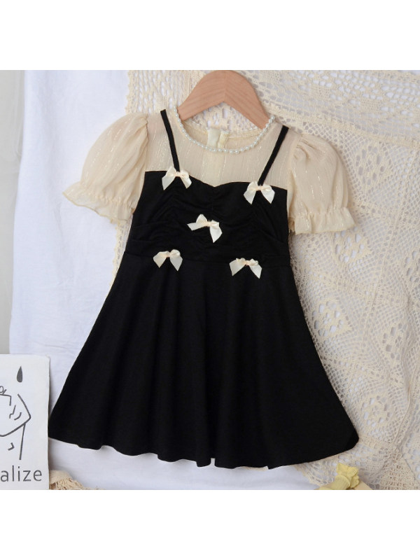 【18M-7Y】Sweet Bow Fake Two-piece Dress