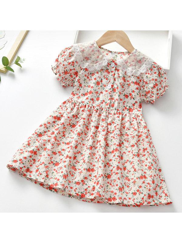 【18M-7Y】Girl Sweet Red Floral Short Sleeve Dress - 33114